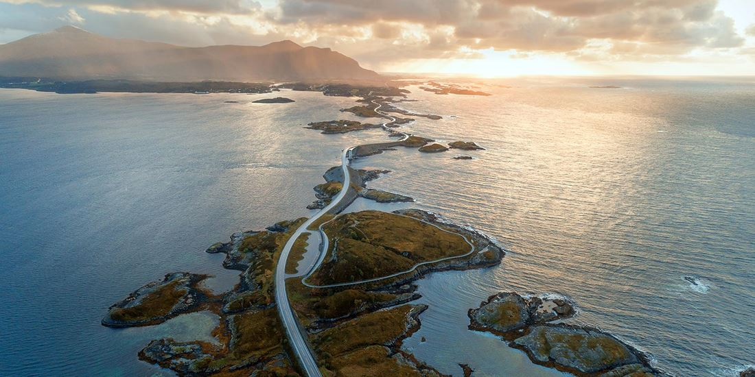 Scenic image of the Atlantic ocean road in Norway