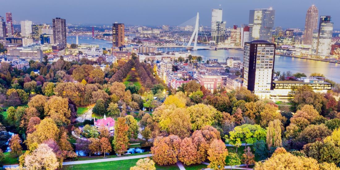 Parc and view of Rotterdam