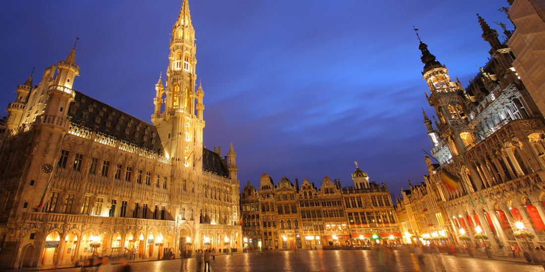 Evening falls on the Grand Place in the heart of historic Brussels