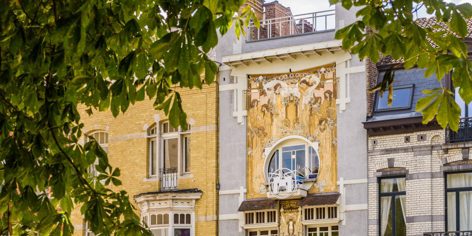 Buildning in Brussels with Art Nouveau style