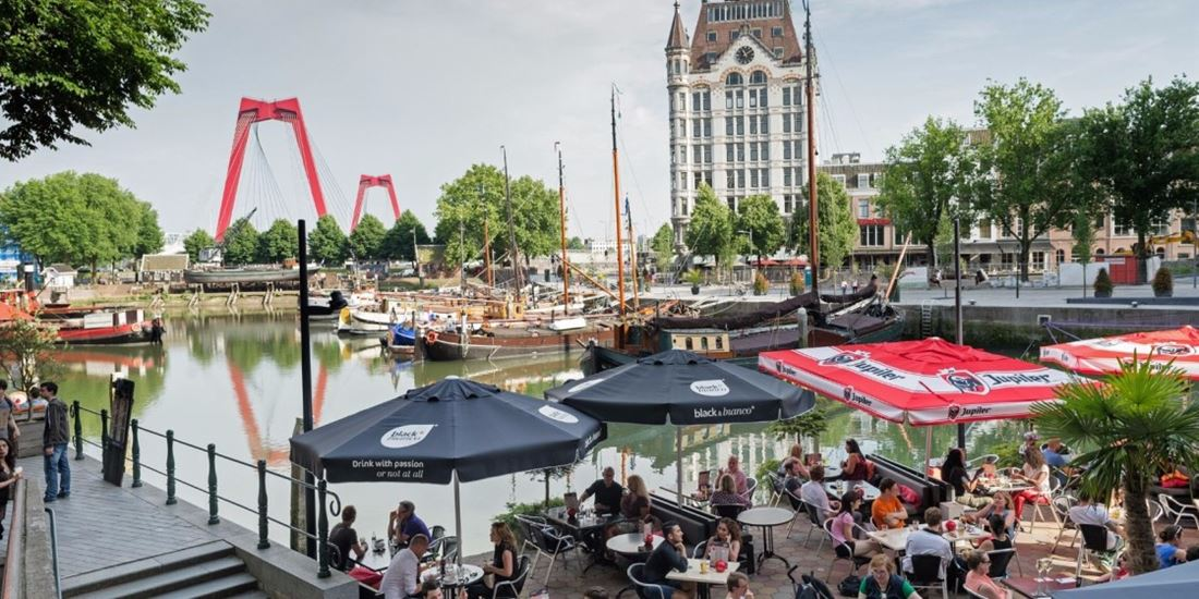 Old port in Rotterdam with terrace