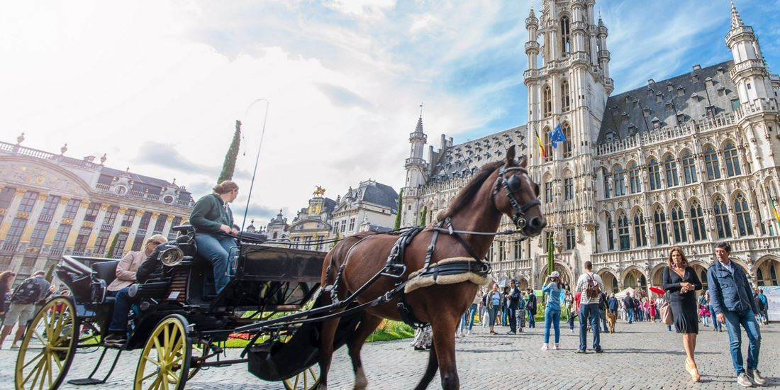 Horse carriage on Grand Place in Brussels