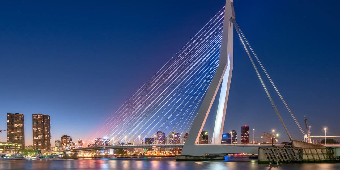 The Erasmus Bridge over the Maas River in Rotterdam
