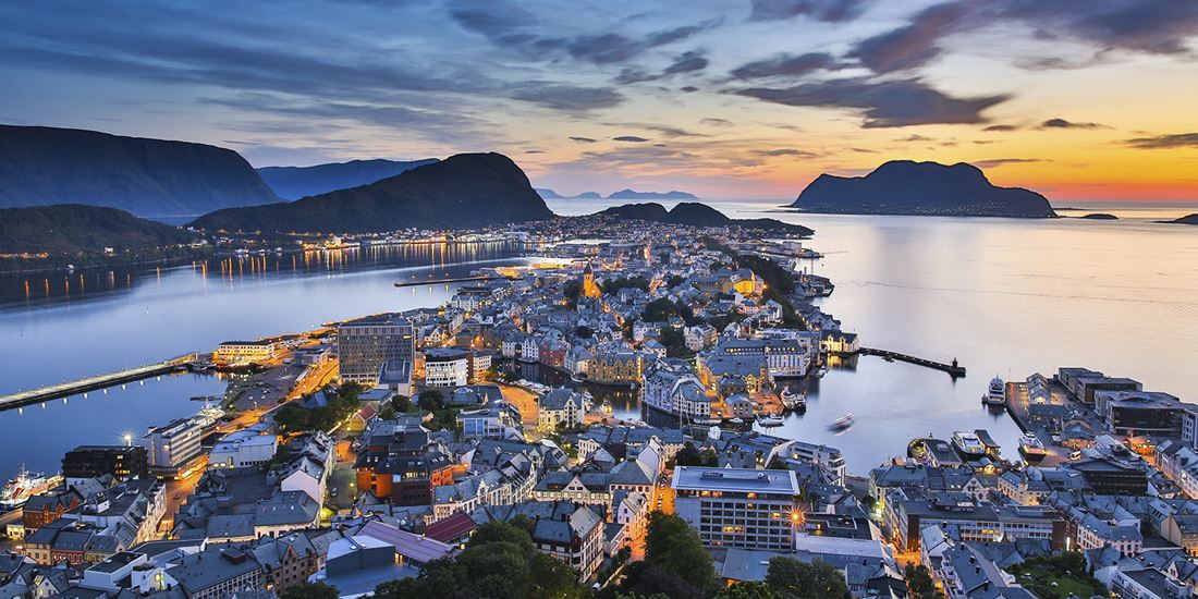 Scenic view over Ålesund in Norway at evening time