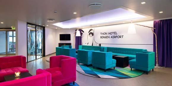 The lobby with seating areas at Thon Hotel Bergen Airport