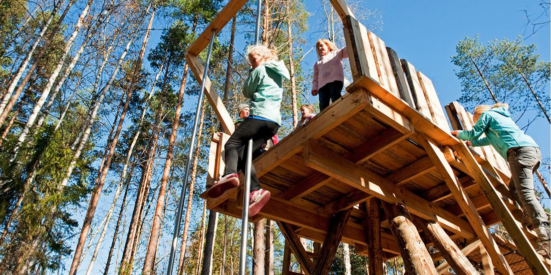 An outdoor climbing frame at the Bjørneparken bear sanctuary in Flå