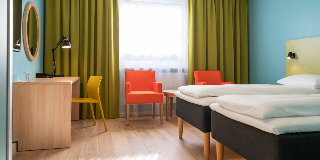 The beds in a Twin room at Thon Hotel Gardermoen