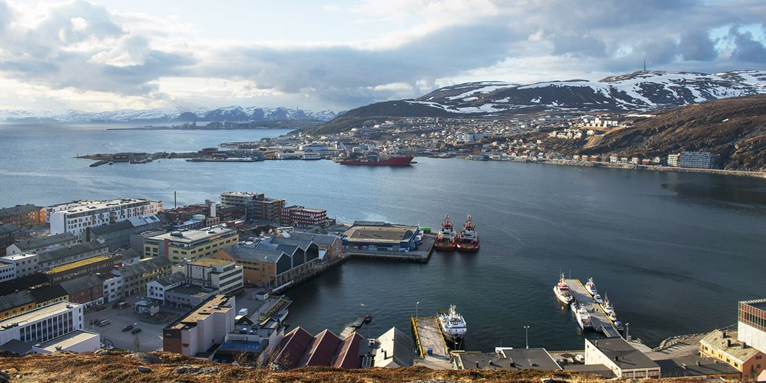 A panoramic view of Hammerfest's harbour