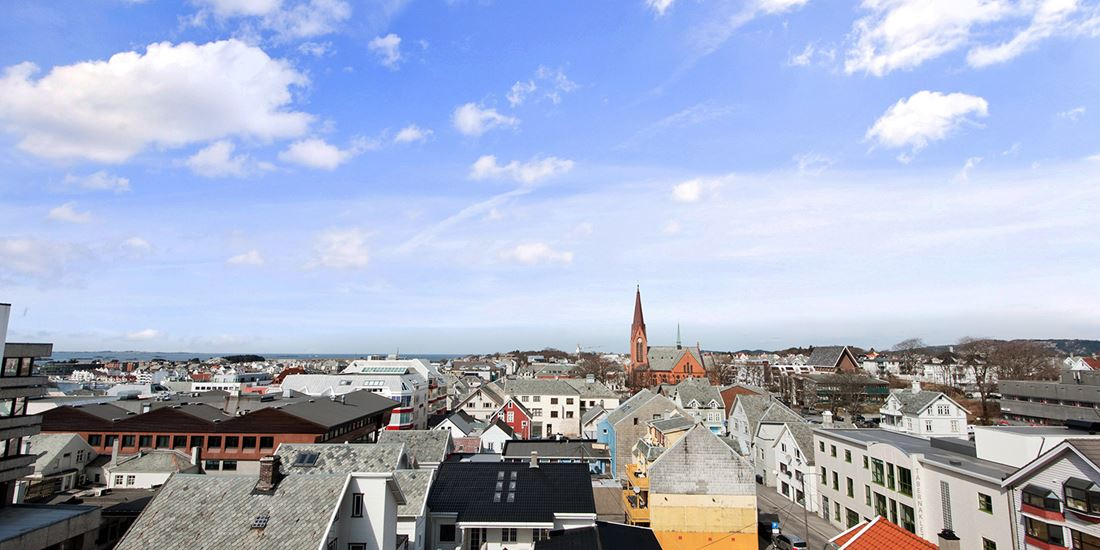 A view of the rooftops of Haugesund's town centre