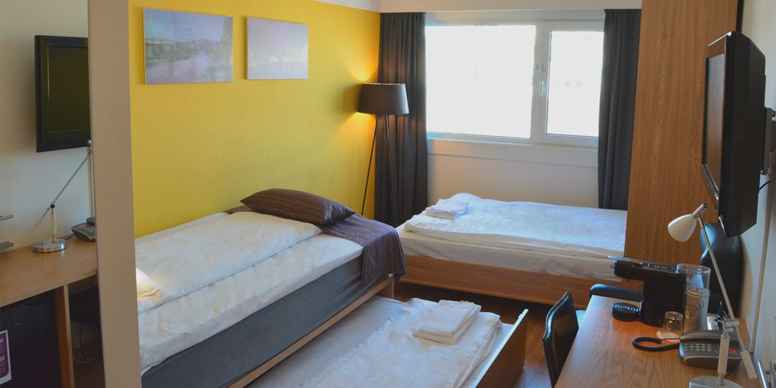 Combination room to sleep four people at Thon Hotel Kristiansand