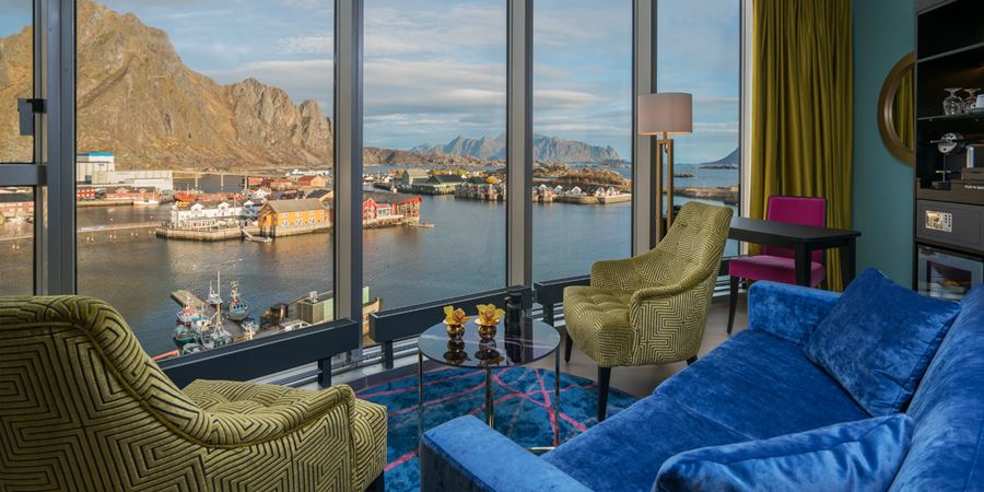 A Superior room at Thon Hotel Lofoten, with a view of the quay, in Svolvær