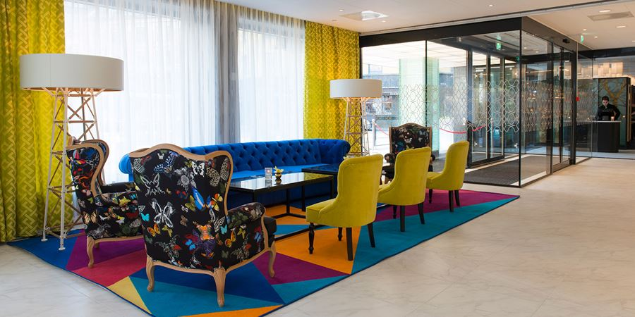 The lobby and seating area at Thon Hotel Rosenkrantz Oslo in downtown Oslo