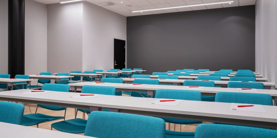 Meeting room with classroom layout at Thon Hotel Storo