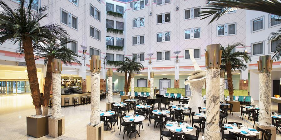 The atrium with restaurant at Thon Hotel Oslofjord in Sandvika, just outside of Oslo