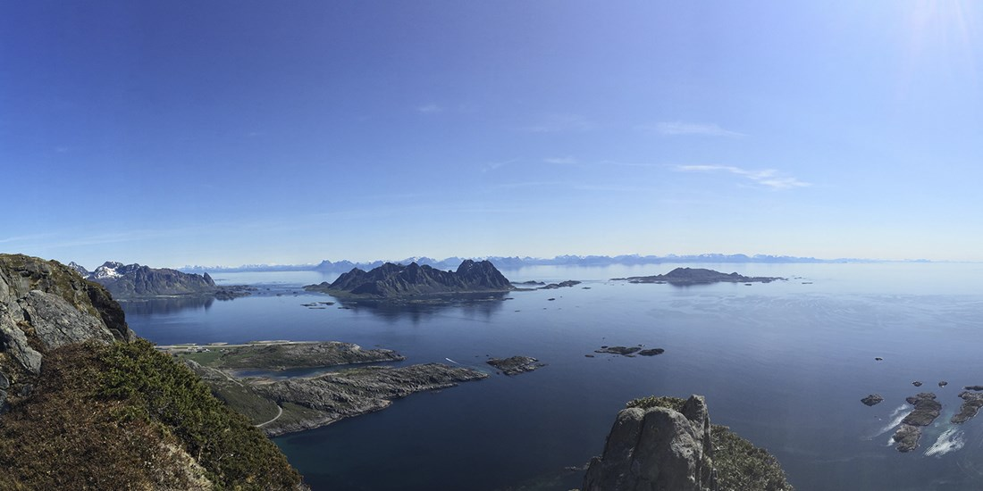 View from mountain top in Lofoten