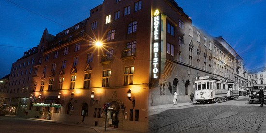 The facade of Hotel Bristol – then and now