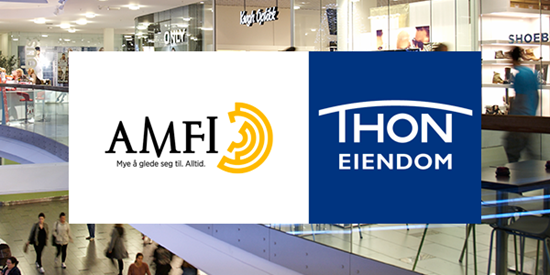 The interior of a shopping centre with the AMFI and Thon Eiendom logos