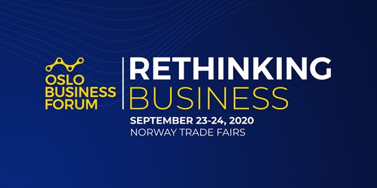 Oslo Business Forum Logo og banner for Rethinking Business 2020