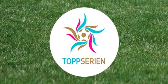Football pitch with the Toppserien logo