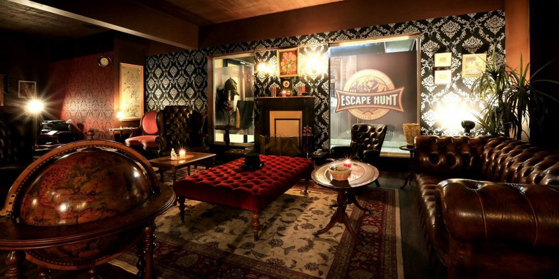 Old classic interior in a mystery escape room in Brussels