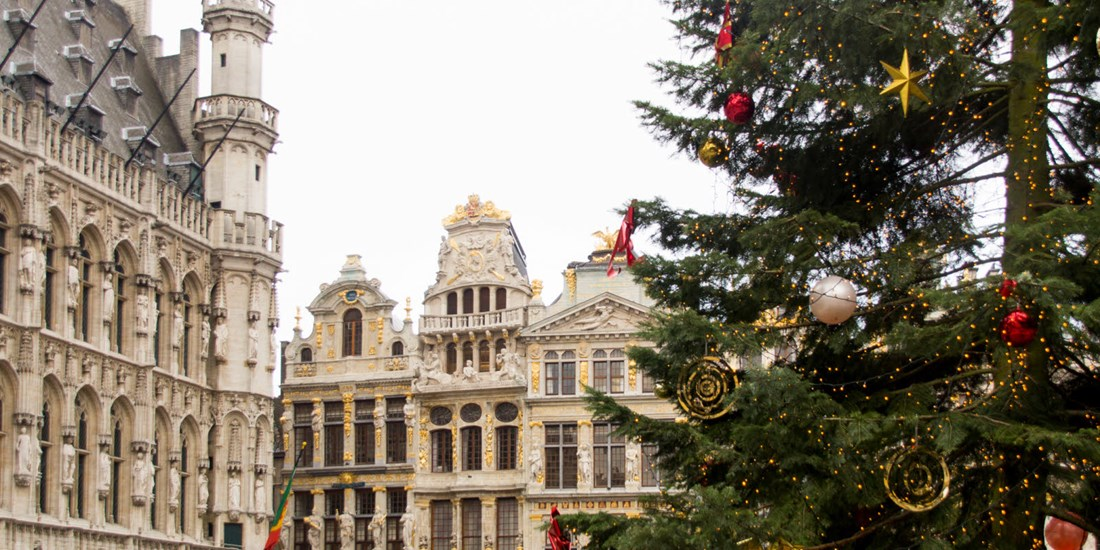 Beautifully decorated christmas tree in Brussels